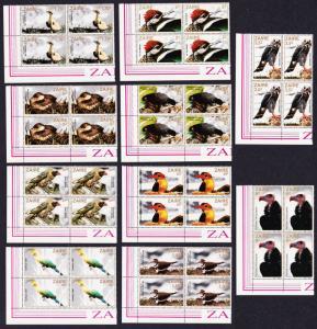 Zaire Birds 10v Bottom Left Corner Blocks of 4 with margins SG#1133-1142