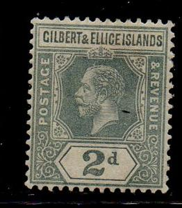 Gilbert & Ellice Islands Sc 16 1916 2d gray George V stamp mint