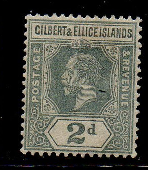 Gilbert & Ellice Islands Sc 16 1916 2d gray George V stamp mint