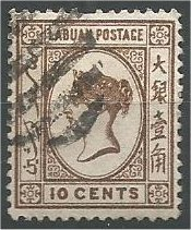 LABUAN, 1892, used 10c, Queen Victoria  Scott 36