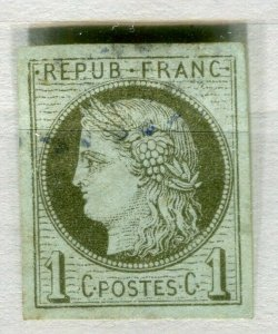 FRENCH COLONIES; 1870s classic Ceres Imperf issue used 1c. value