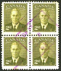 CANADA #305 USED BLOCK OF 4