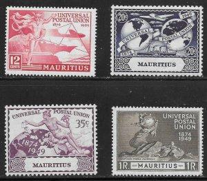 Mauritius (1949) - Scott # 231 - 234,   MH
