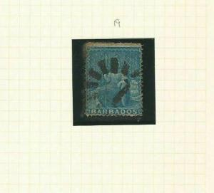 BARBADOS SG 19 1d  BLUE 1861 USED