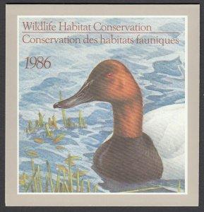 Canada, (Revenue, Wildlife) Unitrade FWH2, MNH booklet