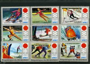 BURUNDI 1972 WINTER OLYMPIC GAMES SAPPORO SET OF 9 STAMPS MNH