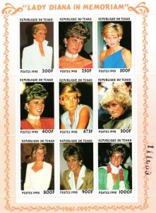 Chad 1999  Sc#774  Diana Princess of Wales Sheetlet (9) Perforated MNH