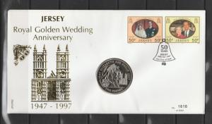 Jersey Coin cover FDC 1997 Golden wedding anniv wth £5 coin
