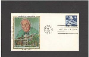 USA: #10 /**FRANKLIN ROOSEVELT-NY ** / SILK CACHET- FDI- Excellent Condition