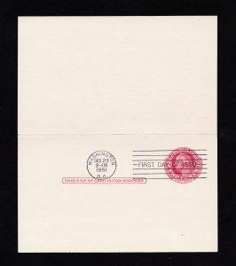 SCOTT #UY13 MARTHA & GEORGE WASHINGTON 2¢ REPLY POSTCARD DOUBLE-SIDED FDI FDC