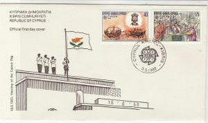 Europa Cyprus 1982 Cyprus CEPT Cancel Flag Raising Pic FDC Stamp Cover Ref 25944