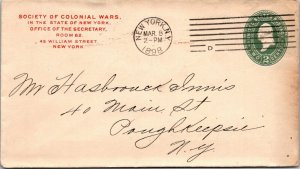 Society of Colonial Wars NY > Poughkeepsie NY1898 postal stationery cover