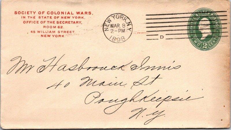 Society of Colonial Wars NY > Poughkeepsie NY1898 postal stationery cover
