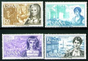 SPAIN Scott 1522-1525, MNH** Famous Spanish Women set 1968