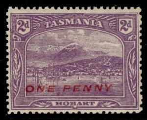 AUSTRALIA - Tasmania GV SG260, 1d on 2d bright violet, NH MINT.