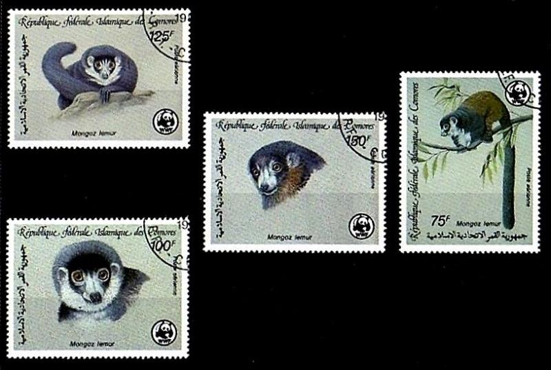 COMOROS IS - 1987 - WWF - LEMUR - MONGOOSE LEMUR - AFRICA - 4 X CTO NH SET!