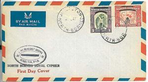 28803/5  MAPS \  PRIMATES: POSTAL HISTORY: NORTH BORNEO airmail FDC COVER 1947