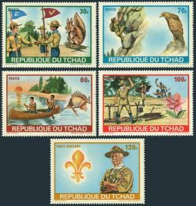 Chad 257-59,C118-120,MNH. Scout Jamboree 1972.Squirrel,Eagle,Fish,Canoeing,