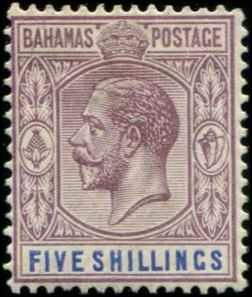 Bahamas SC# 83 SG# 124 George V wmk 4  perf 14 5 Shilling MH