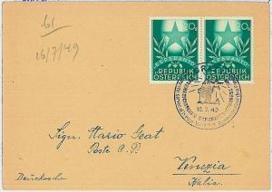 ESPERANTO : AUSTRIA - COVER to ITALY 1949