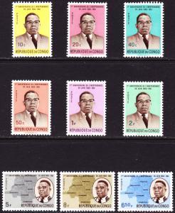 Congo Scott 381-385, 387, 389-391  F to VF mint OG H.