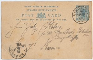 Malaya Straits Settlements Singapore to Germany Pre-Stamped Postcard 2c on 3c QV