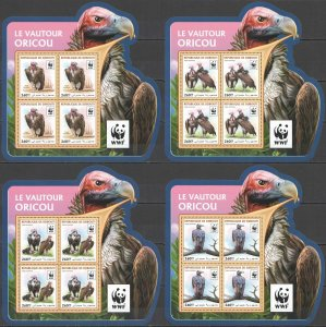 NW0587 2016 DJIBOUTI WWF VULTURES BIRDS OF PREY #1319-1322 4KB(4SET) MNH