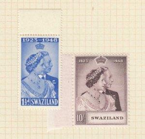 SWAZILAND # 48-49 VF-MH KGV1 1948 SILVER WEDDING ISSUE