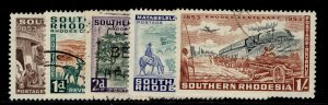 SOUTHERN RHODESIA QEII SG71-75, complete set, FINE USED.