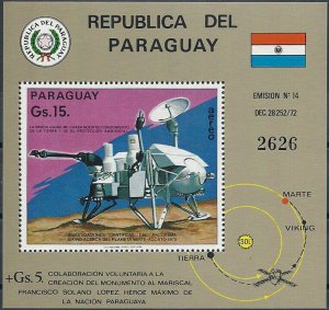 1975 Paraguay Mars Probe Viking, Space, Sheet Nr. 258 VFMNH, CAT 28$