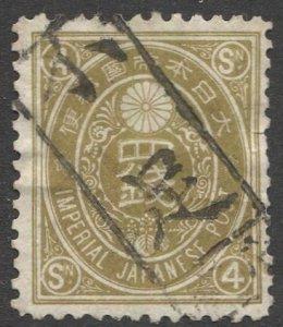 JAPAN 1888 Sc 77 4s New Koban Used VF, Postage Due box cancel, Sakura 83