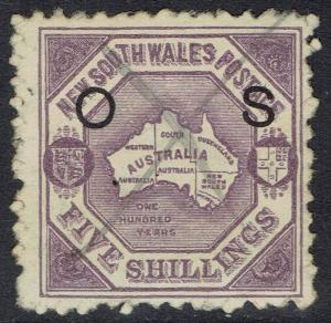NEW SOUTH WALES 1890 MAP OS 5/- USED