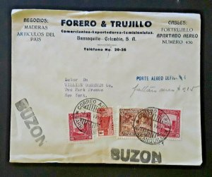 1941 Barranquilla Colombia South America To New York NY Airmail Mailbox Cover