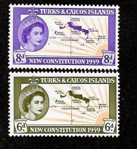 Turks & Caicos 136-137 Mint NH New Constitution!