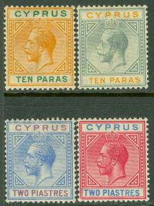 EDW1949SELL : CYPRUS 1921-23 Scott #72-73, 79-80 Very Fine, Mint OG. Catalog $83
