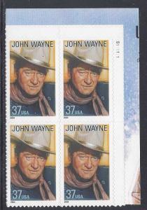 Catalog # 3876 John Wayne Legends of Hollywood Plate Block of 4  37 cent Stamps