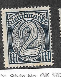 Germany #O12  2M dark blue   (MNH) CV$4.25