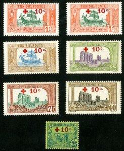 Tunisia Stamps # B3-9 VF MH