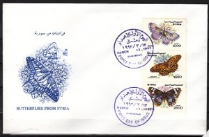 Syria, Scott cat. 1289 a-c. Butterflies issue. First day cover. ^