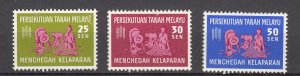 J27523 1963 fed malaya set mnh #111-3 FAO a small tone spot back 3rd stamp