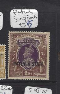 INDIA PATIALA  (P1012B) KGVI  2R  SG 93   MOG