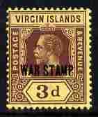 British Virgin Islands 1916-19 KG5 3d purple on yellow op...
