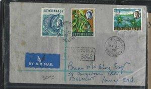 SEYCHELLES  (P1708B) COVER 1969 QEII  10C+30C+85C REG A/M VICTORIA TO ENGLAND #2