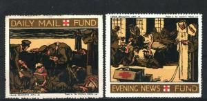 GB *Daily Mail & Evening News Fund* Charity Stamps Pair {2} WW1 DA177