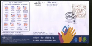 India 2020 Global Handwashing Day COVID-19 Health Special Covers # 18269
