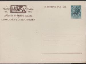 Italy Trieste 1953 20L AMG-FTT OVP European Philatelic Expo Postal Card Unused