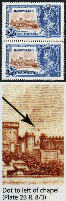 Basutoland SG13g 1935 Silver Jubilee 3d Variety Dot to left of Chapel U/M
