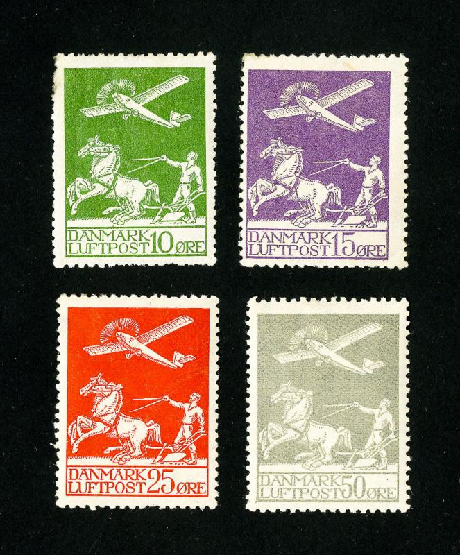 Denmark Stamps # 1-4 VF OG LH Set of 4 Scott Value $272.50
