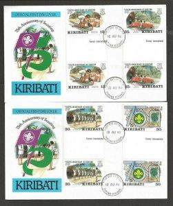 1982 Kiribati Boy Scouts 75th anniv gutter pair FDC