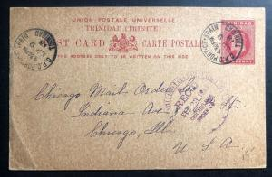 1913 Trinidad & Tobago Postcard Stationery Cover To Chicago IL USA